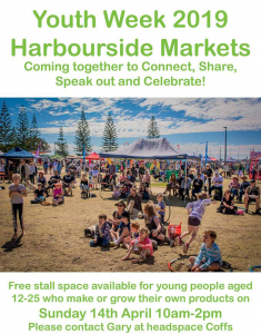 Harbour Side Markets Heads Space Youth Week Poster